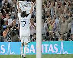 Real Madrid's Ruud van Nistelrooy celebrates during Spain's La Liga match between Real Madrid and Espanol at Santiago Bernabeu Stadium, Saturday May 12, 2007. (ALTERPHOTOS/Alvaro Hernandez).