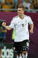 LVIV, UCRANIA, 17 JUNHO 2012 - EURO 2012 - ALEMANHA X DINAMARCA - Lukas Podolski  jogador da Alemanha comemora seu gol contra a Dinamarca em partida pelo terceira rodada do grupo B da Euro 2012 em Lviv na Ucrania neste domingo, 17. (FOTO: PIXATHLON / BRAZIL PHOTO PRESS).