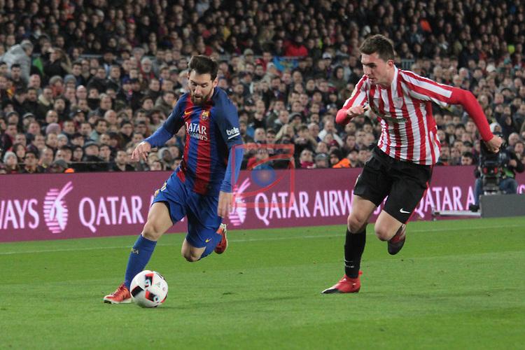Copa del Rey 2016/2017 - 1/8 final vuelta.<br /> FC Barcelona vs Athletic Club: 3-1.<br /> Lionel Messi vs Laporte.
