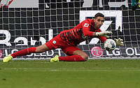 Torwart Koen Casteels (VfL Wolfsburg haelt - 23.11.2019: Eintracht Frankfurt vs. VfL Wolfsburg, Commerzbank Arena, 12. Spieltag<br /> DISCLAIMER: DFL regulations prohibit any use of photographs as image sequences and/or quasi-video.