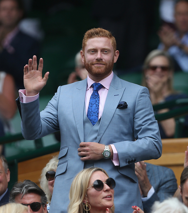 England cricketer Jonny Bairstow is introduced to the Centre Court crowd<br /> <br /> Photographer Rob Newell/CameraSport<br /> <br /> Wimbledon Lawn Tennis Championships - Day 6 - Saturday 6th July 2019 -  All England Lawn Tennis and Croquet Club - Wimbledon - London - England<br /> <br /> World Copyright © 2019 CameraSport. All rights reserved. 43 Linden Ave. Countesthorpe. Leicester. England. LE8 5PG - Tel: +44 (0) 116 277 4147 - admin@camerasport.com - www.camerasport.com