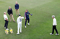 Daniel Bell-Drummond of Kent and Tom Westley of Essex touch elbows having contested the coin toss during Kent CCC vs Essex CCC, Friendly Match Cricket at The Spitfire Ground on 27th July 2020