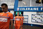 The two teams walking out on to the pitch before Coleraine (in blue) played Spartak Subotica of Serbia in a Europa League Qualifying First Round second leg at the Showgrounds, Coleraine. The hosts from Northern Ireland had drawn the away leg 1-1 the previous week, however, the visitors won the return leg 2-0 to progress to face Sparta Prague in the next round, watched by a sell-out crowd of 1700.