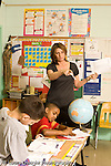 Education Elementary school Grade 4 female teacher with class discussion geography social studies vertical