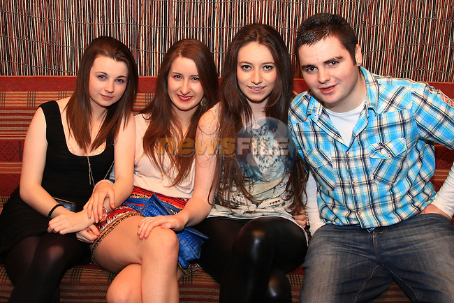 Vicky Monaghan, Katie Walsh, Vanessa McDonald and Paul Gould enjoy a night in the Star Bar Venue.Picture: Shane Maguire / www.newsfile.ie.