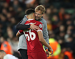 Trent Alexander Arnold of Liverpool hugged by manger Jurgen Klopp during the Champions League Semi Final 1st Leg match at Anfield Stadium, Liverpool. Picture date: 24th April 2018. Picture credit should read: Simon Bellis/Sportimage