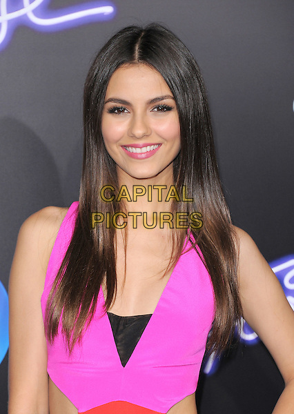 Victoria Justice.The L.A. Premiere of 'Footloose' held at The Regency Village Theater in Westwood, California, USA..October 3rd, 2011.half length smiling pink black lipstick .CAP/RKE/DVS.©DVS/RockinExposures/Capital Pictures.