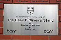 General view of the Basil D'Oliveira Stand sign ahead of Worcestershire CCC vs Essex CCC, Specsavers County Championship Division 1 Cricket at Blackfinch New Road on 11th May 2018