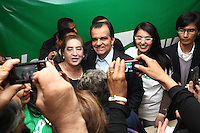 Colombia. 1st June 2014. Colombia Candidate, Oscar Ivan Zuluaga (C ) greats his supporters during a meeting in Bogota.. Photo by ZUUAGA Campaign/STR / VIEWpress TO EDITORS : THIS PICTURE WAS PROVIDED BY A THIRD PARTY.  THIS PICTURE IS DISTRIBUTED EXACTLY AS RECEIVED BY VIEWpress, AS A SERVICE TO CLIENTS