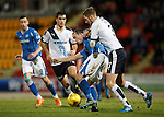St Johnstone v Dundee....27.11.15  SPFL  McDiarmid Park, Perth<br /> Chris Kane holds off Kevin Holt<br /> Picture by Graeme Hart.<br /> Copyright Perthshire Picture Agency<br /> Tel: 01738 623350  Mobile: 07990 594431