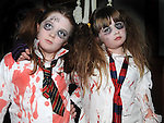 Ellie Mullane and Abby McCoy pictured at the Halloween horror story telling in Ardee Castle. Photo:Colin Bell/pressphotos.ie
