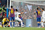 Real Madrid's Sami Khedira goal during la liga match on april 21st 2012...Photo: Cesar Cebolla / ALFAQUI