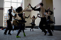 The Mixed Ceili team from the Knock School of Irish Dancing from Edmonton, Canada, run through their routine before competing at the 2013 World Championships for Irish Dancing in Boston, Massachusetts, USA.  The 2013 competition in Boston is the second time in the competition's 43-year history that the event has been held in the United States.