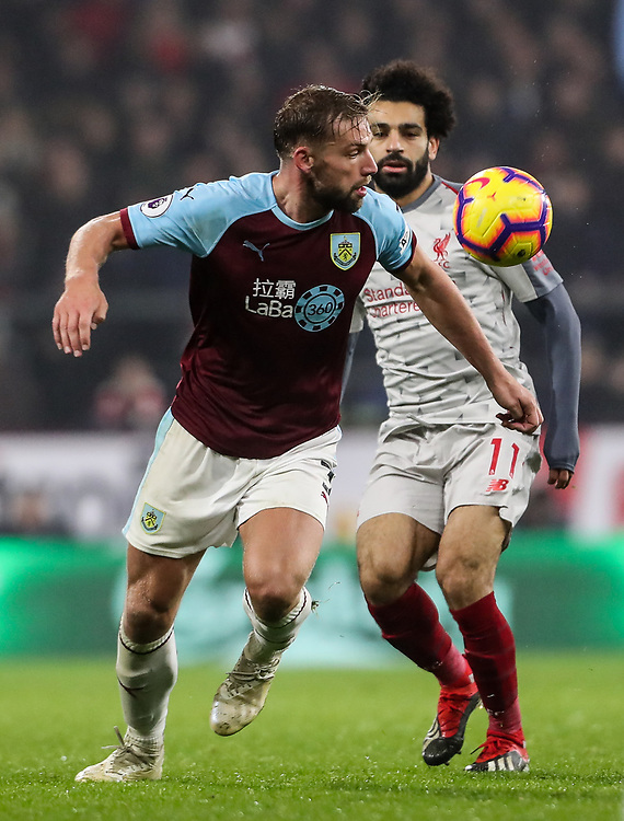 Burnley's Charlie Taylor competing with Liverpool's Mohamed Salah<br /> <br /> Photographer Andrew Kearns/CameraSport<br /> <br /> The Premier League - Burnley v Liverpool - Wednesday 5th December 2018 - Turf Moor - Burnley<br /> <br /> World Copyright &copy; 2018 CameraSport. All rights reserved. 43 Linden Ave. Countesthorpe. Leicester. England. LE8 5PG - Tel: +44 (0) 116 277 4147 - admin@camerasport.com - www.camerasport.com
