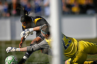 Sky Blue FC goalkeeper Jenni Branam (23) makes a save on Marta Vieira da Silva (10) of the Los Angeles Sol during a Women's Professional Soccer match at TD Bank Ballpark in Bridgewater, NJ, on April 5, 2009. Photo by Howard C. Smith/isiphotos.com