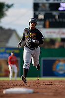 West Virginia Black Bears first baseman Jhoan Herrera (14) running the bases during a game against the Batavia Muckdogs on June 19, 2018 at Dwyer Stadium in Batavia, New York.  West Virginia defeated Batavia 7-6.  (Mike Janes/Four Seam Images)