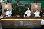 Chef Sam Kass, Chef Miguel Cobo and Chef Jose Luis Martinez during the presentation of Exploratorium of San Miguel Selecta at Museo del Ferrocarril in Madrid. March 22, 2017. (ALTERPHOTOS/Borja B.Hojas)