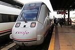 RENFE train at platform railway station, Merida, Extremadura, Spain