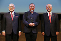 (L-R) Yoshiro Mori, Asao Tokolo, Yoichi Masuzoe, April 25, 2016 : Olympic logo is seen before an unveiling event for the Tokyo 2020 Olympic and Paralympic games official emblems in Tokyo, Japan.  The Tokyo Organising Committee of the Olympic and Paralympic Games unveiled the emblems. (Photo by Yusuke Nakanishi/AFLO SPORT)