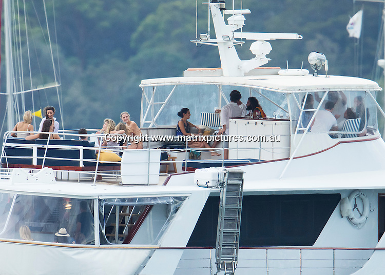 30 DECEMBER 2016 SYDNEY AUSTRALIA<br /> WWW.MATRIXPICTURES.COM.AU<br /> <br /> EXCLUSIVE PICTURES<br /> <br /> Hollywood golden boy Scott Eastwood pictured getting cozy with The Bachelor Australia's Lisa Hyde. The pair and some friends boarded a tender at Rose Bay to join a larger group of fun seekers aboard Julian Tobias cruiser 'Hiilani'. While on board Scott was seen dotting on Lisa as a bevy of other bikini clad women tried to get his attention. <br /> <br /> *ALL WEB USE MUST BE CLEARED*<br /> <br /> Please contact prior to use:  <br /> <br /> +61 2 9211-1088 or email images@matrixmediagroup.com.au
