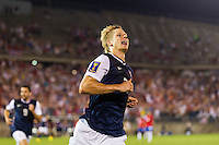 United States midfielder Brek Shea (23) celebrates scoring. The United States defeated Costa Rica 1-0 during a CONCACAF Gold Cup group B match at Rentschler Field in East Hartford, CT, on July 16, 2013.
