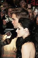 Robert Pattinson; Kristen Stewart The Twilight Saga: Breaking Dawn Part 1 UK Premiere, Westfield Startford City, London, UK. 16 November 2011. Contact rich@pictured.com +44 07941 079620 (Picture by Richard Goldschmidt)