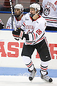 Luke Eibler (Northeastern - 20) - The visiting Merrimack College Warriors defeated the Northeastern University Huskies 4-3 (OT) on Friday, February 4, 2011, at Matthews Arena in Boston, Massachusetts.