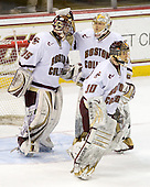 Parker Milner (BC - 35), John Muse (BC - 1), Chris Venti (BC - 30) - The Boston College Eagles defeated the Merrimack College Warriors 7-0 on Tuesday, February 23, 2010 at Conte Forum in Chestnut Hill, Massachusetts.