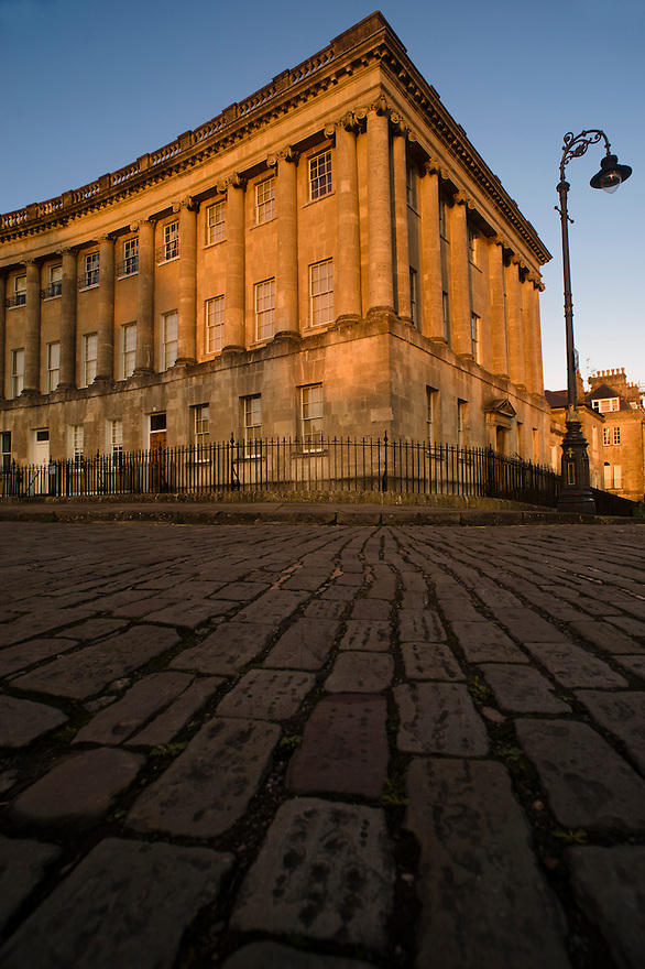 The first house of The Royal Crescent, Bath, UK, February 16, 2016. The UNESCO World Heritage city of Bath is famed for its hot spa that dates back to Roman times and for its Georgian architecture. For much of its history the city has been a popular holiday resort. It is the only hot spa in the UK.