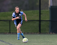 Allston, Massachusetts - May 7, 2016:  In a National Women's Soccer League (NWSL) match, Chicago Red Stars (dark blue/blue) defeated Boston Breakers (white/blue), 1-0, at Jordan Field.