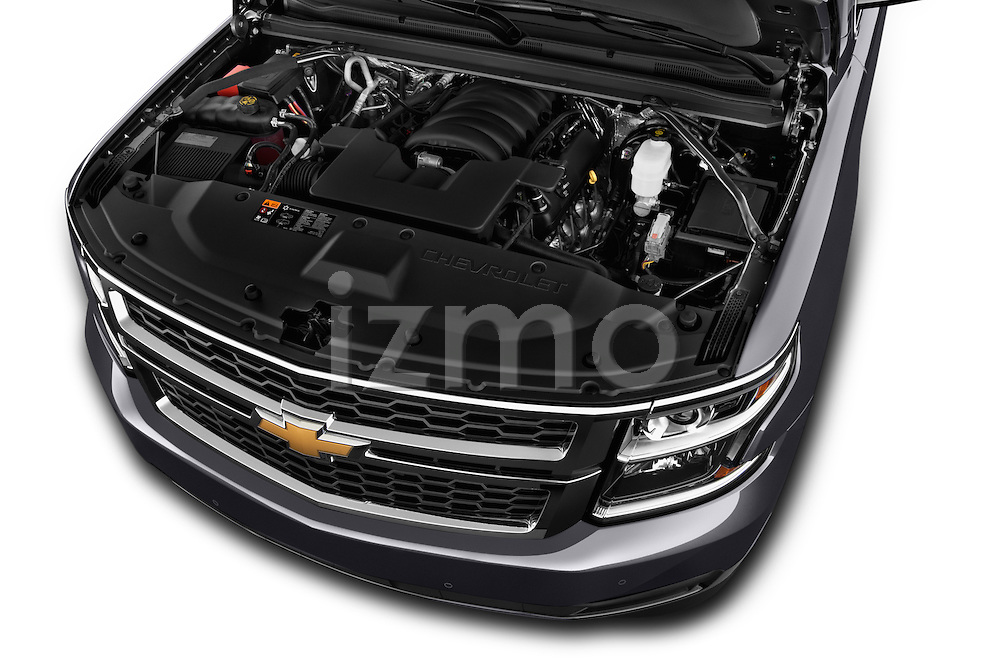 High angle engine detail of a 2015 Chevrolet Suburban 2WD 1500 LT 5 Door SUV