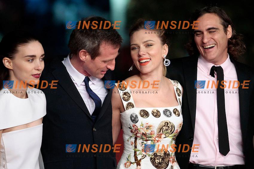 Rooney Mara, Spike Jonze, Scarlett Johansson e Joaquin Phoenix<br /> Roma 10-11-2013 Auditorium <br /> Festival Internazionale del Film di Roma<br /> Rome Film Festival <br /> 'Her' Red Carpet<br /> Foto Samantha Zucchi / Insidefoto