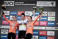 Elite Women Individual Time Trial podium:<br /> 1/ Chloe Dygert (USA)<br /> 2/ Anna van der Breggen (NED/Boels-Dolmans)<br /> 3/ Annemiek van Vleuten (NED/Mitchelton-Scott)<br /> <br /> 2019 Road World Championships Yorkshire (GBR)<br /> <br /> ©kramon