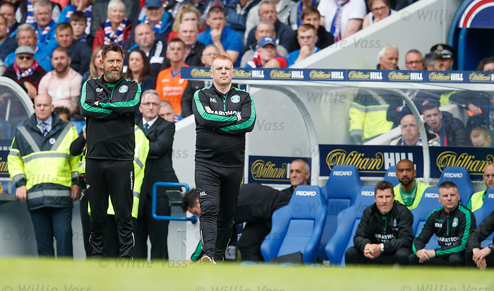 Garry Parker and Neil Lennon together in the Hibs technical area