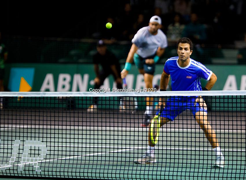 Rotterdam, The Netherlands, 10 Februari 2020, ABNAMRO World Tennis Tournament, Ahoy, Doubles: Jean-Julien Rojer (NED) and Horia Tecau (ROU), Stefanos Tsitsipas (GRE) and Nenad Zimonjic (SRB).<br /> Photo: www.tennisimages.com