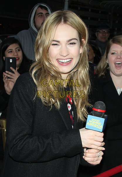 NEW YORK, NY - MARCH 10: Lily James at ABC's Good Morning America in New York City on March 10, 2015. <br /> CAP/MPI/RW<br /> &copy;RW/MPI/Capital Pictures