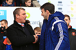 Blackpool's manager, Lee Clarke greets Forest manager, Dougie Freedman - Blackpool vs. Nottingham Forest - Skybet Championship - Bloomfield Road - Blackpool - 14/02/2015 Pic Philip Oldham/Sportimage