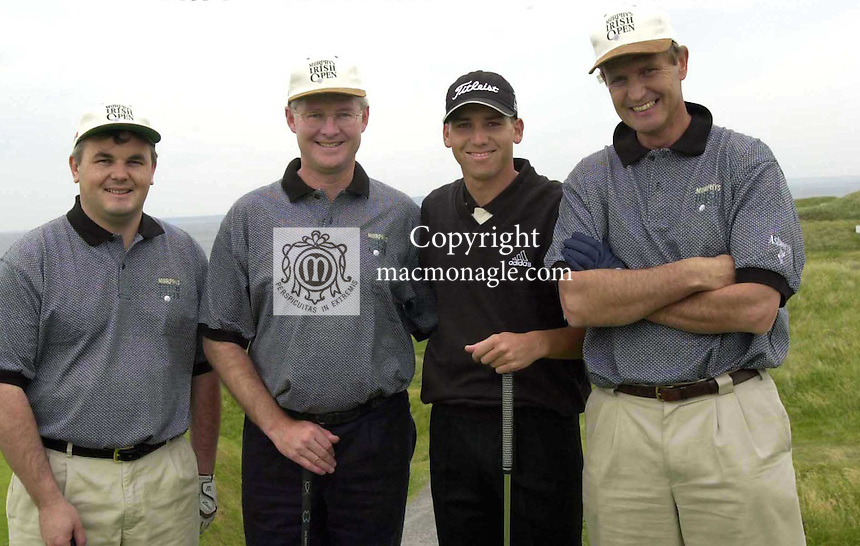 Pictured at the Murphy's Irish Open at Ballybunion were from left,Padraic Liston and Sergio Garcia with Dan Wallace and .Picture by Don MacMonagle