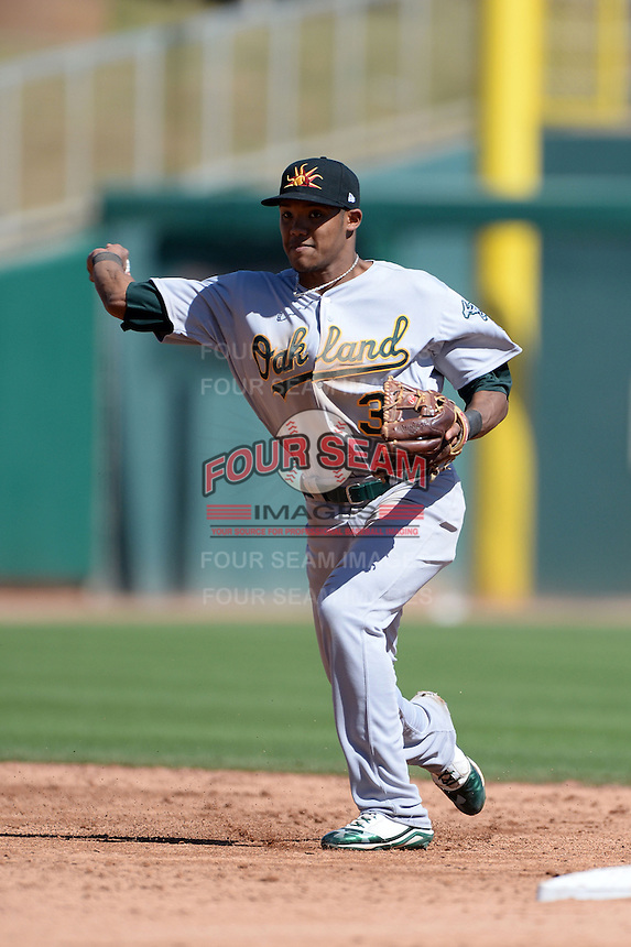 Mesa Solar Sox shortstop Addison Russell (3), of the Oakland Athletics organization, during an Arizona Fall League game against the Glendale Desert Dogs on October 8, 2013 at Camelback Ranch Stadium in Glendale, Arizona.  The game ended in an 8-8 tie after 11 innings.  (Mike Janes/Four Seam Images)