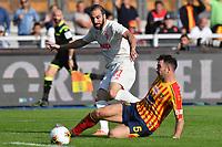 Gonzalo Higuain of FC Juventus is tackled by Fabio Lucioni of US Lecce <br /> Lecce 26-10-2019 Stadio Via del Mare <br /> Football Serie A 2019/2020 <br /> US Lecce - FC Juventus<br /> Photo Carmelo Imbesi / Insidefoto
