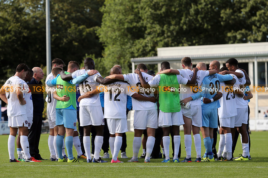 Dagenham players huddle after Eastleigh vs Dagenham & Redbridge, Vanarama National League Football at the Silverlake Stadium on 12th August 2017
