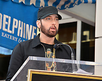 """LOS ANGELES, CA. January 30, 2020: Eminem at the Hollywood Walk of Fame Star Ceremony honoring Curtis """"50 Cent"""" Jackson.<br /> Pictures: Paul Smith/Featureflash"""