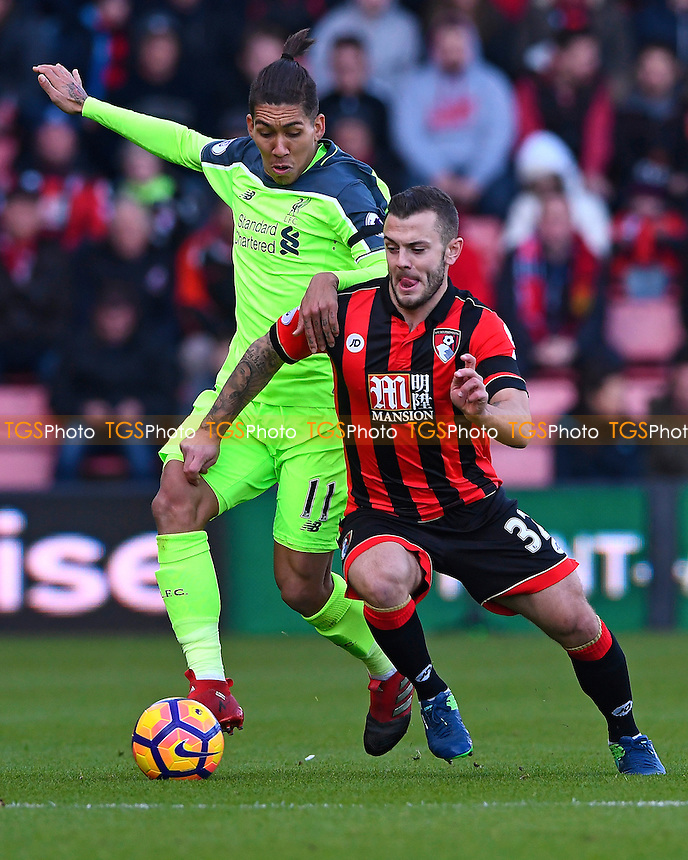 Jack Wilshere of AFC Bournemouth battles with Roberto Firmino of Liverpool during AFC Bournemouth vs Liverpool, Premier League Football at the Vitality Stadium on 4th December 2016