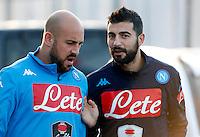 Allenamento del Napoli nel centro sportivo di CastelVolturno<br />  Pepe Reina e  Raul Albiol
