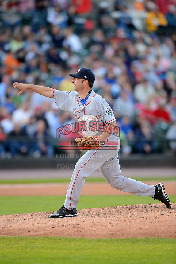 Former Detroit Tigers pitcher Greg Keagle #13 delivers a pitch during the MLB Pepsi Max Field of Dreams game on May 18, 2013 at Frontier Field in Rochester, New York.  (Mike Janes/Four Seam Images)