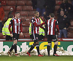 Leon Clarke of Sheffield Utd celebrates scoring the first goal during the Championship match at Bramall Lane Stadium, Sheffield. Picture date 02nd April, 2018. Picture credit should read: Simon Bellis/Sportimage
