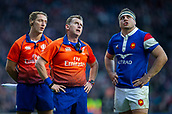 10th February 2019, Twickenham Stadium, London, England; Guinness Six Nations Rugby, England versus France; Ref Nigel Owens looks up to the TMO for a decision