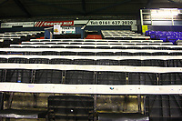 A general view of the wooden seats at Boundary Park, the home of Oldham Athletic FC ahead of the Sky Bet League 1 match between Oldham Athletic and AFC Wimbledon at Boundary Park, Oldham, England on 21 November 2017. Photo by Juel Miah/PRiME Media Images
