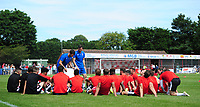 Lincoln City manager Danny Cowley (stood left) and Lincoln City's assistant manager Nicky Cowley (stood right) deliver a team-talk on the pitch<br /> <br /> Photographer Chris Vaughan/CameraSport<br /> <br /> Football - Pre-Season Friendly - Lincoln United v Lincoln City - Saturday 8th July 2017 - Sun Hat Villas Stadium - Lincoln<br /> <br /> World Copyright &copy; 2017 CameraSport. All rights reserved. 43 Linden Ave. Countesthorpe. Leicester. England. LE8 5PG - Tel: +44 (0) 116 277 4147 - admin@camerasport.com - www.camerasport.com