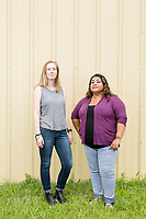 Catherine Crowe, 23, and Sintia Castillo, 24, (both CQ) who work with the Farm Labor Organizing Committee (FLOC) in Dudley, NC on Tuesday, June 27, 2017. (Justin Cook for The Guardian)
